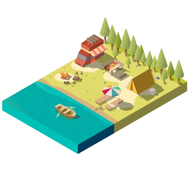 Camping pitch on river shore Free Vector
