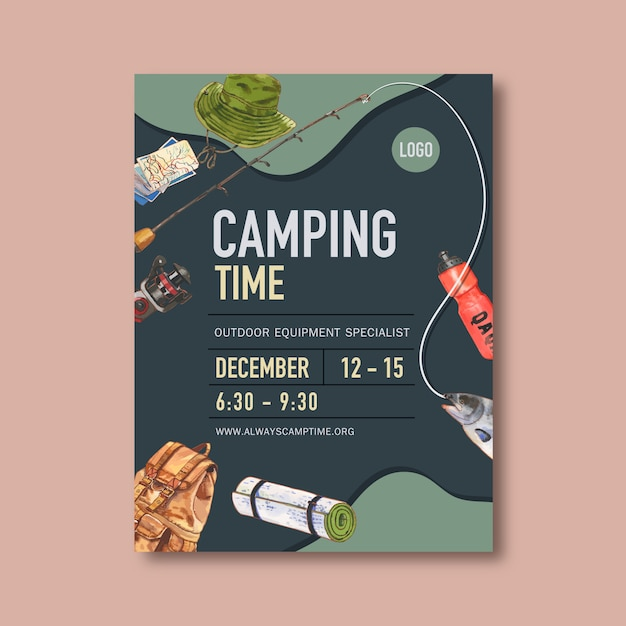 Camping poster with bucket hat, rod, fish and backpack Free Vector