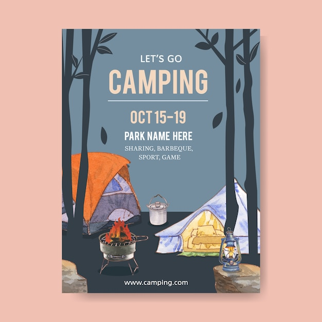 Camping poster  with tent, pot, grill stove and lantern Free Vector