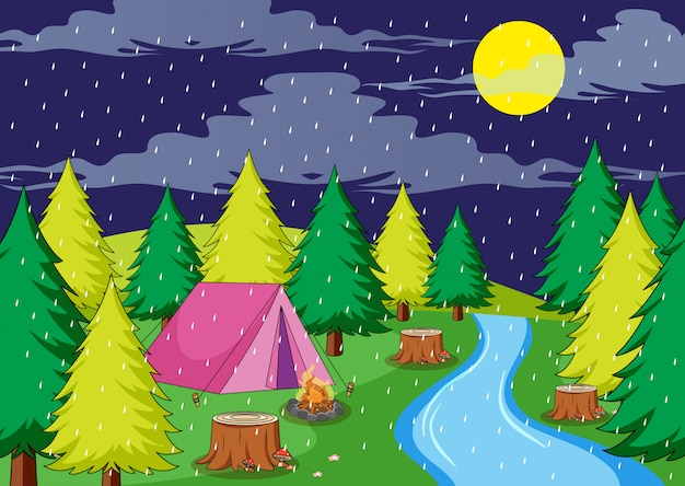 Camping in rainy night Free Vector