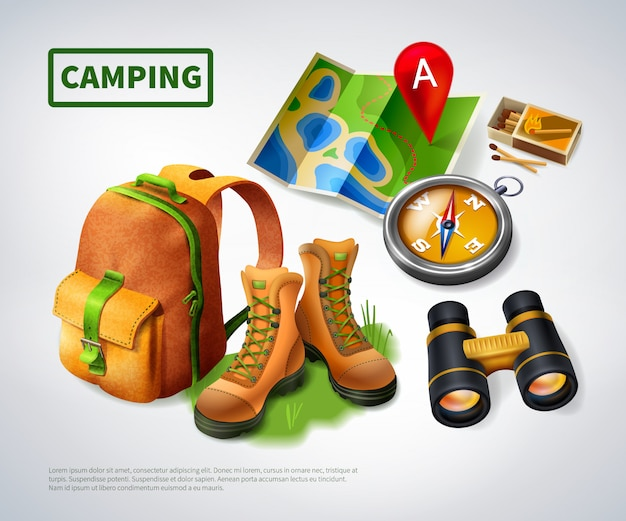 Camping realistic composition template Free Vector
