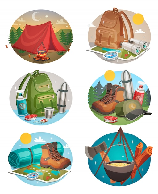 Camping round compositions set Free Vector