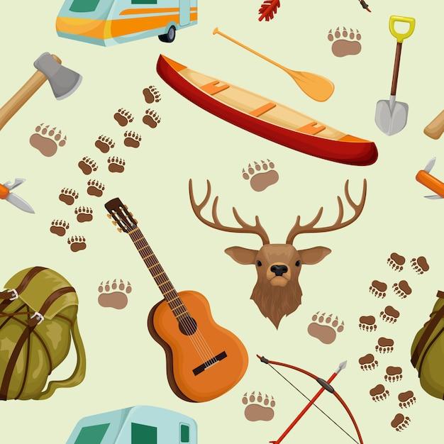 キャンプの要素を持つキャンプのシームレスなパターンをキャンプし、観光や森の動物をハイキングベクトルイラスト Premiumベクター