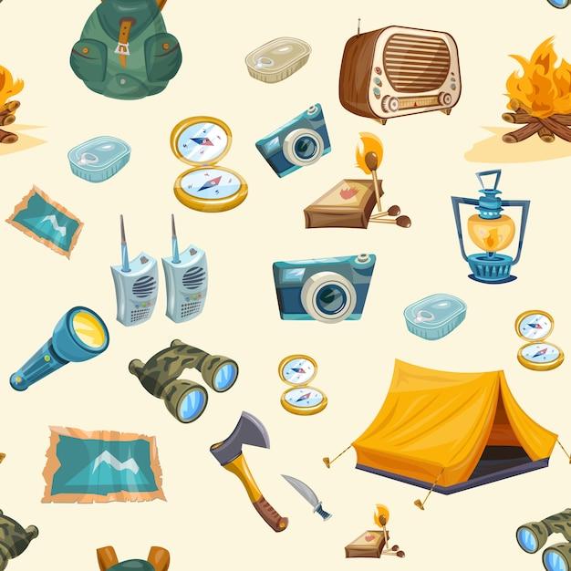 Camping seamless pattern Premium Vector
