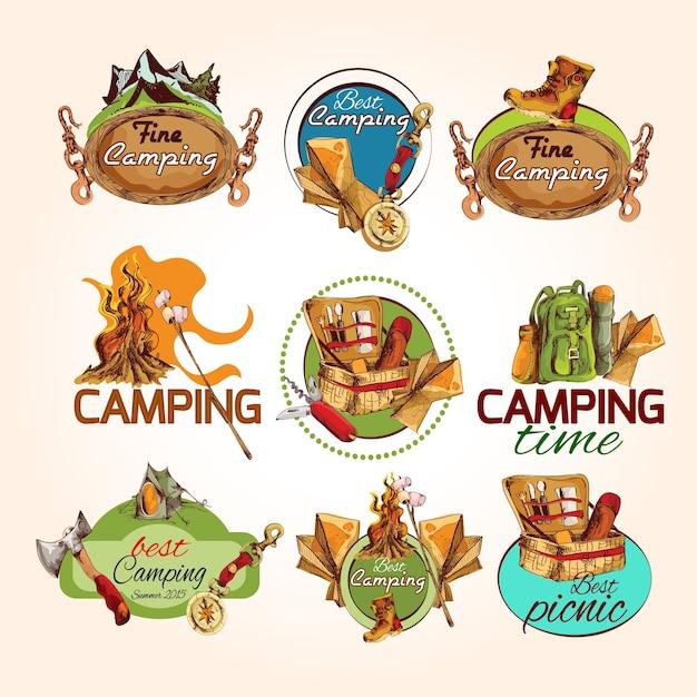 Camping sketch emblems Free Vector