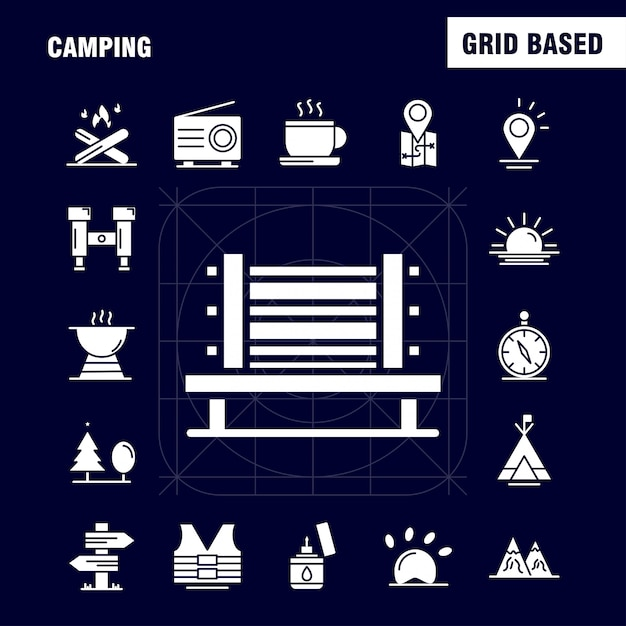Camping solid glyph icon Free Vector