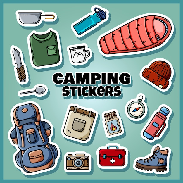 Camping stickers set poster Premium Vector