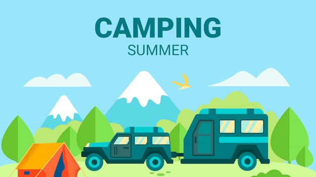 Camping in summer advertising flat design card Premium Vector
