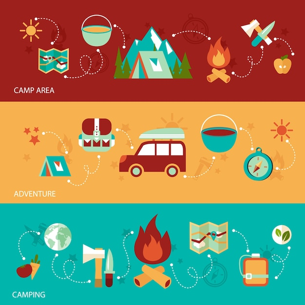 Camping summer outdoor activity flat banner set\ with camp area adventure isolated vector illustration
