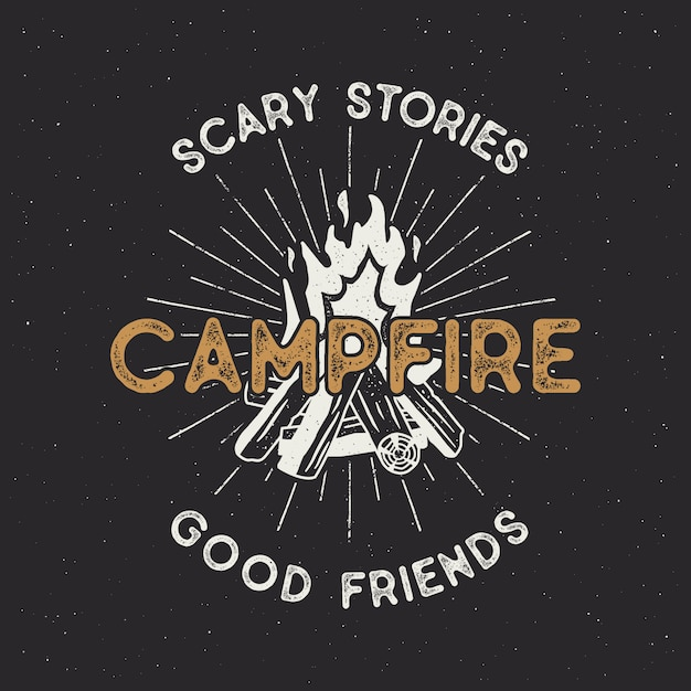 Camping t shirt design. hand drawn vintage label with texts, textured campfire and sunbursts. letterpress effect.  outdoors adventure illustration isolated. hipster logotype Premium Vector