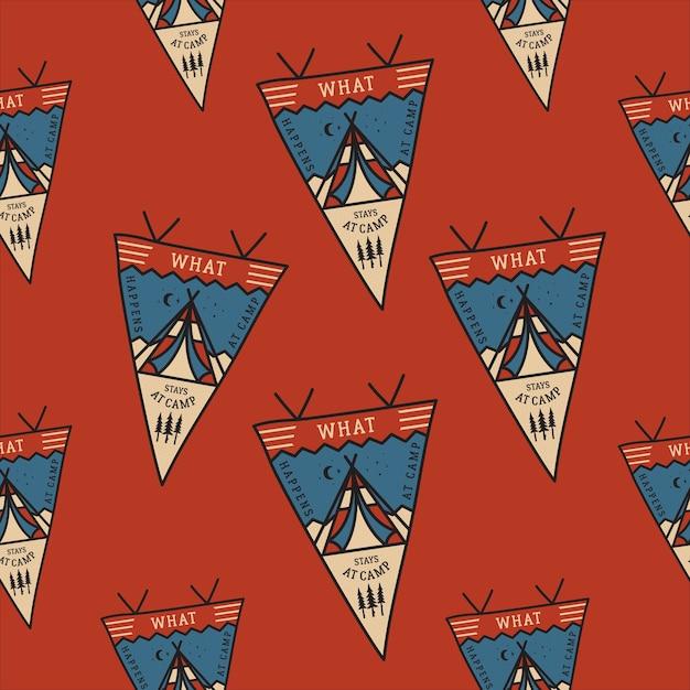 Образец значков палатки кемпинга с вымпелами. Premium векторы