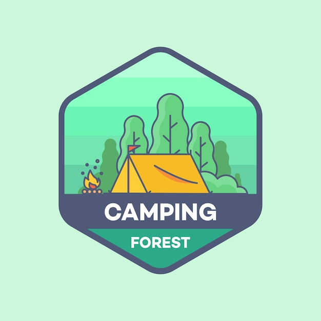 camping tent in forest logo line minimal style vector illustration