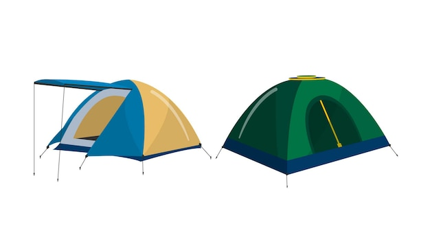 Camping tents isolated vector illustration Premium Vector