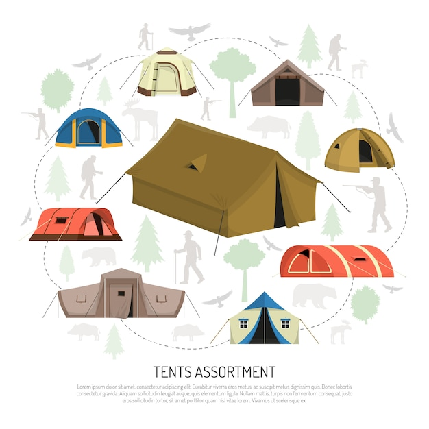 Camping tents selection composition  advertisement poster Free Vector