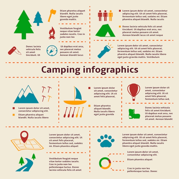 Camping and tourism infographic elements Free Vector