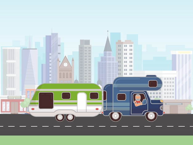 Camping trailer vector illustration. car with caravan for camping in summer journey. car camp trailer. rv with driver on the road in the city Premium Vector