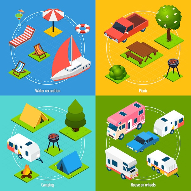 Camping and travel isometric card set Free Vector