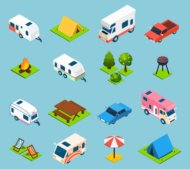 Camping and travel isometric icons set Free Vector