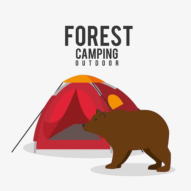 Camping, travel and vacations Free Vector