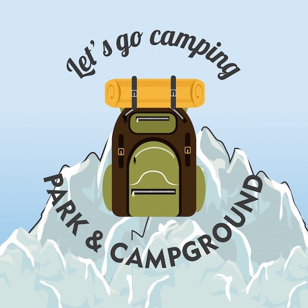 Camping, travel and vacations Free Vector