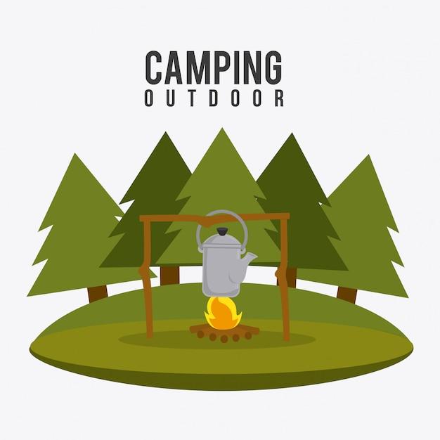 Camping travel and vacations. Free Vector