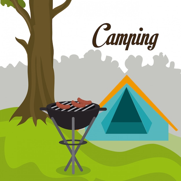 Camping travel and vacations. Free Vector