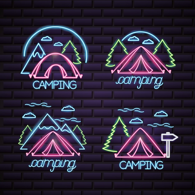 Camping trip logo in neon style Free Vector