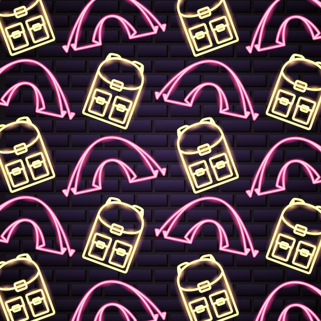 Camping trip in neon style pattern Free Vector