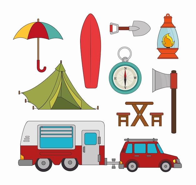 Camping vacation and travel Premium Vector