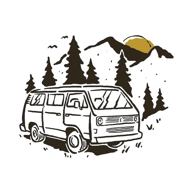 Camping van mountain illustration Premium Vector