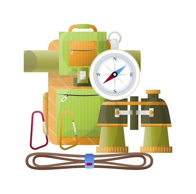 Camping vector backpack, binoculars and compass Premium Vector