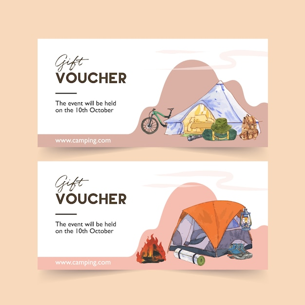 Camping voucher with bicycle, tent, boot and backpack  illustrations. Free Vector