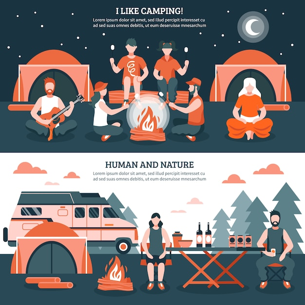 Camping in the wild banners Free Vector