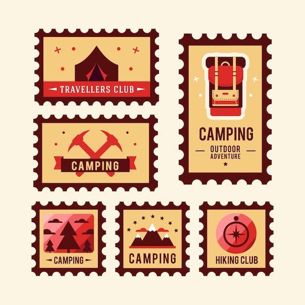 Camping wilderness adventure badge graphic design logo emblem Free Vector