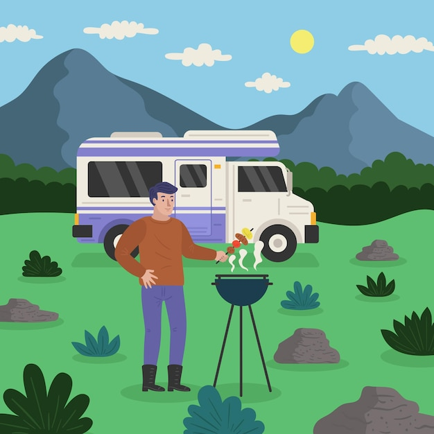 Кемпинг с караваном и мужчиной Бесплатные векторы