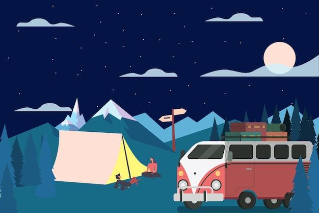 밤에 캐러밴과 캠핑 무료 벡터