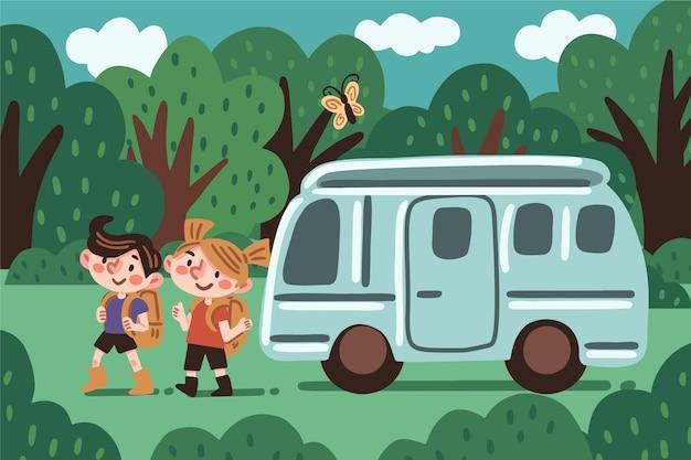 Кемпинг с иллюстрацией каравана с мальчиком и девочкой Бесплатные векторы