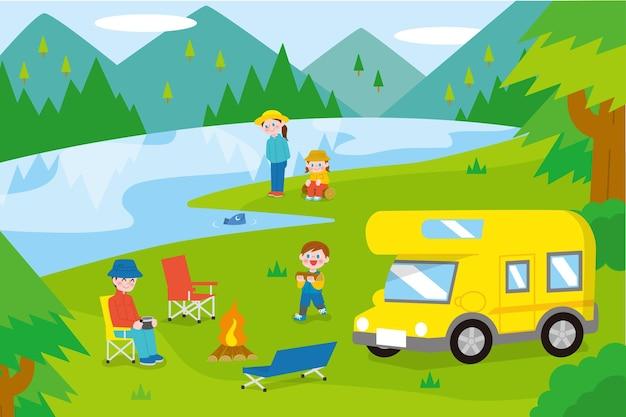 Кемпинг с иллюстрацией каравана с семьей Бесплатные векторы