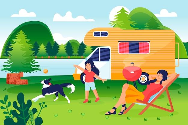 Кемпинг с иллюстрацией каравана с людьми и собакой Бесплатные векторы
