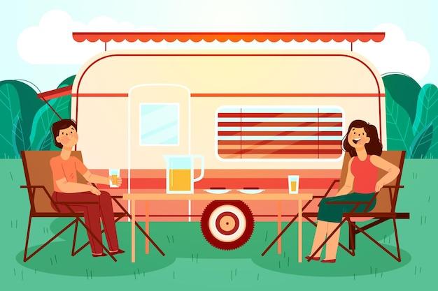 キャラバンイラストでキャンプ Premiumベクター