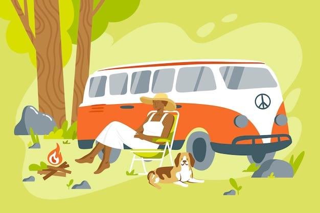 Кемпинг с иллюстрацией каравана Бесплатные векторы