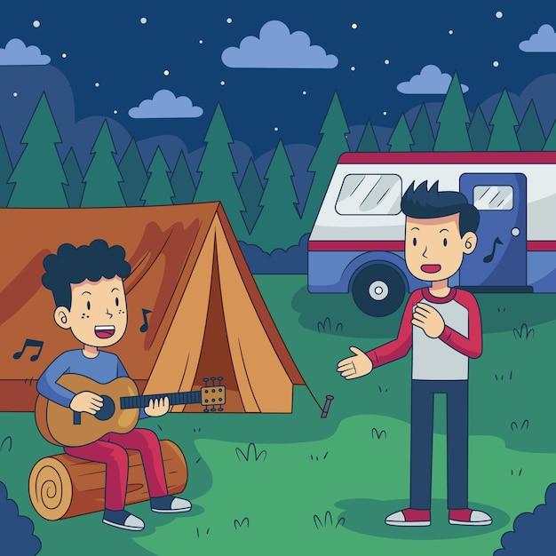 キャラバンでキャンプ 無料ベクター