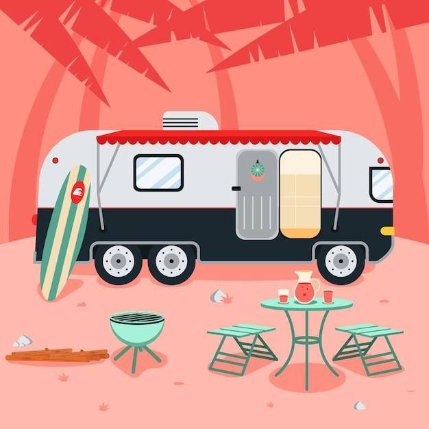 Campeggio con un concetto di roulotte Vettore gratuito