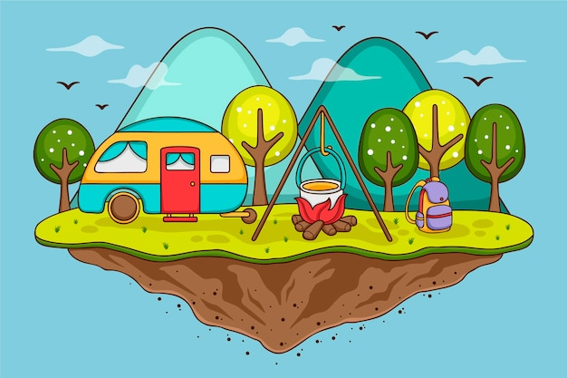 Camping with a caravan illustration concept Free Vector