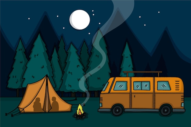 Camping with a caravan illustration at night Premium Vector
