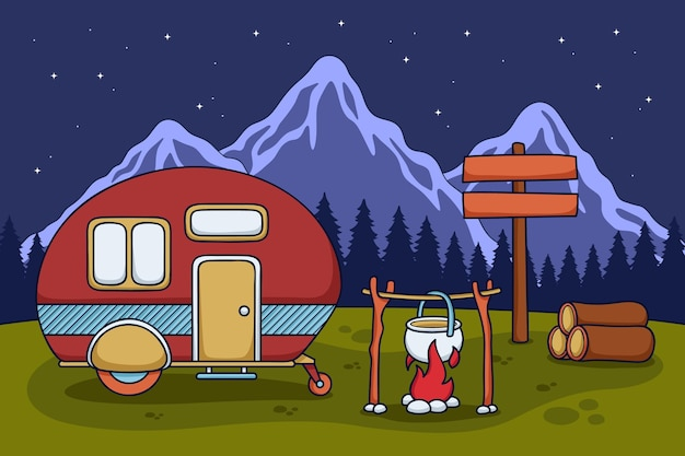 Camping with a caravan illustration with fireplace Free Vector