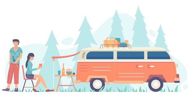 Camping with a caravan illustration with man and woman Free Vector