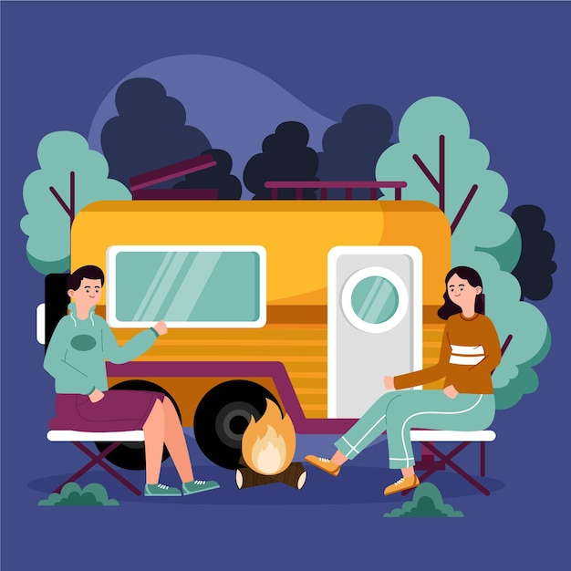 Camping with a caravan illustration Free Vector