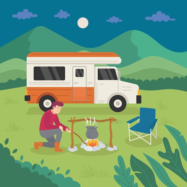 Camping with a caravan and man Free Vector