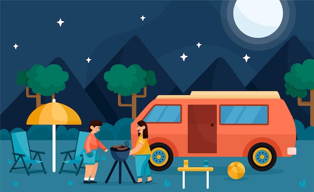 Camping with a caravan Free Vector
